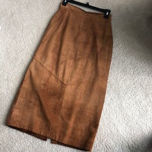 Vintage Lord & Taylor leather midi skirt
